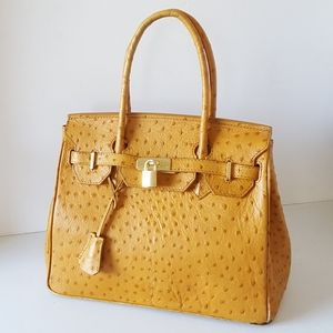 Ostrich Embossed Leather HERMES Style Tote